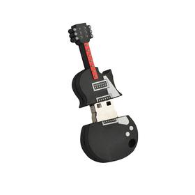 USB 8 GB con forma de guitarra de silicona de color negro