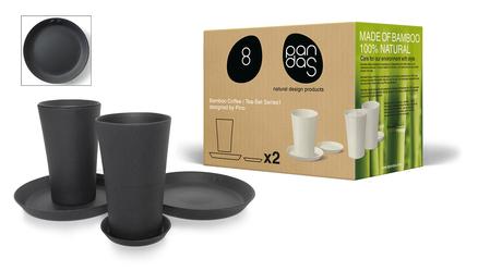 Conjunto de café de bambú ecológico y biodegradable