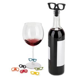 Tapón para la botella de vino con marcadores de copas con forma de gafas
