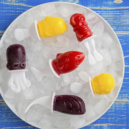 Moldes para polos clásicos Slow Fish pops con formas marinas (6 unidades)