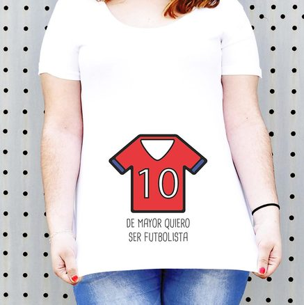 Camiseta para embarazada Bebé futbolista en rojo