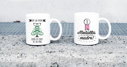 Pack de tazas doble padre pino y medalla madre