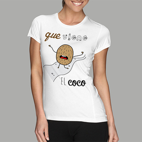Camiseta original Que viene el coco para mujer