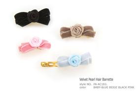 Clip Velvet Pearl Hair Barrette