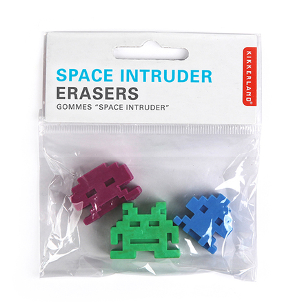 Gomas de borrar en forma de Space Invaders set 3 ud.