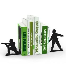 Sujeta libros en forma de soldado