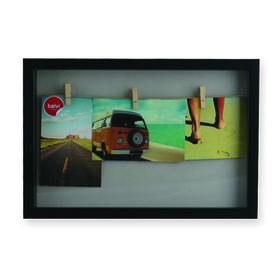 Marco de fotos múltiple Woody para 3 fotos de color negro