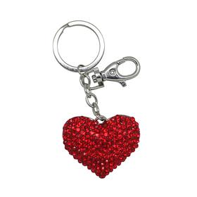 Llavero corazón con cristales rojo