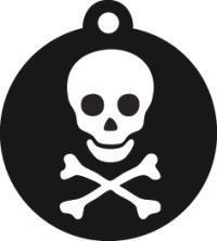 Placa grabada con forma de círculo pequeña de color negro pirata