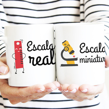 Pack taza original doble Escala real y escala miniatura