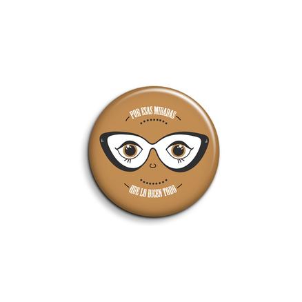 Espejo de bolsillo original de 5.8cm Por esas miradas que lo dicen todo marrón