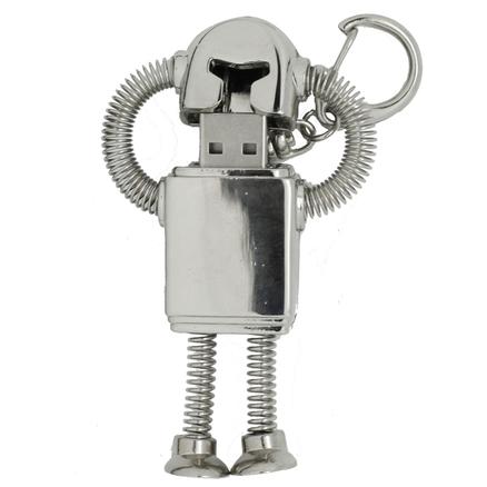 USB 8Gb en forma de robot de acero inoxidable