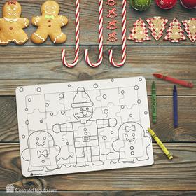 Puzzle cartón 24 piezas navideño para colorear CosasdeRegalo.com