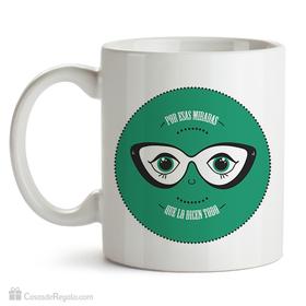Taza original Por esas miradas que lo dicen todo verde
