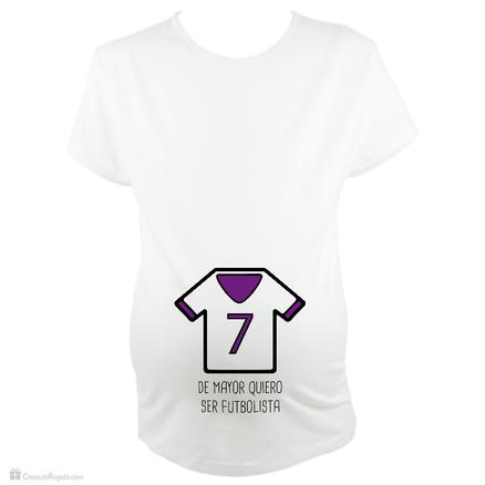Camiseta para embarazada Bebé futbolista en blanco