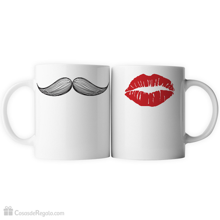 Pack de tazas doble bigote y labios
