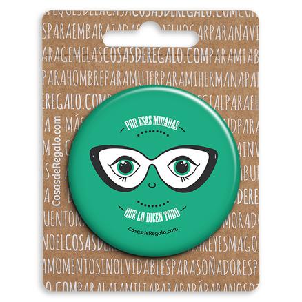 Espejo de bolsillo original de 5.8cm Por esas miradas que lo dicen todo verde