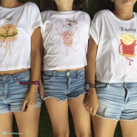 Pack de tres camisetas cortas BFF para chicas