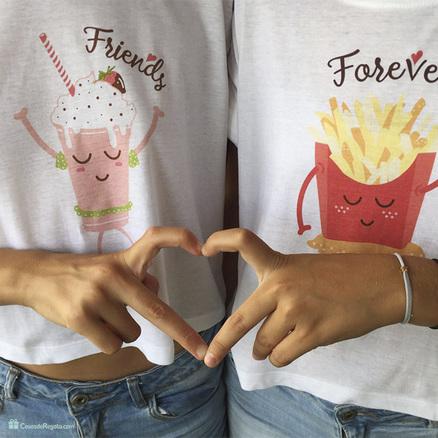 Pack de dos camisetas cortas BFF para chicas