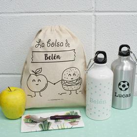 Pack de cantimplora y bolsa para la merienda personalizada con nombre