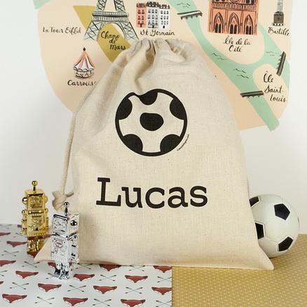 Bolsa merienda personalizada grande con balón de fútbol y tu nombre