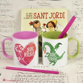 Tassa doble de plàstic original Sóc rosa i drac Sant Jordi (CAT)