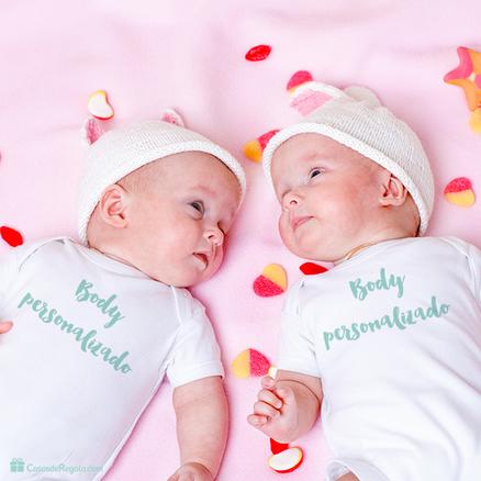 Pack body doble para gemelos personalizado con foto