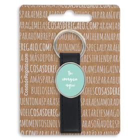 Llavero de metal ovalado con trabilla personalizable
