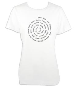 Camiseta mujer con nombres o frase en espiral