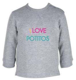 Sudadera bebé I Love Potitos personalizable