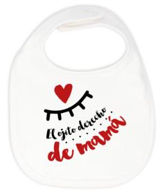 Babero Ojito derecho de mamá liso doble capa personalizado