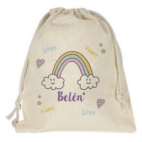 Bolsa merienda personalizada Arcoíris con nombre
