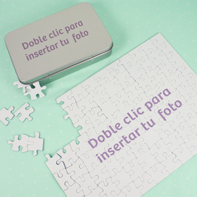 Puzzle de cartón A4 de 96 piezas con caja metálica A6