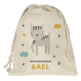 Bolsa merienda personalizada Gato con nombre