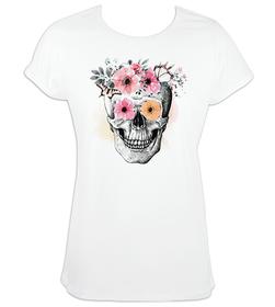 Camiseta mujer Calavera mangas enrolladas personalizable