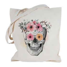 Bolsa con asas largas Calavera&Flores personalizable