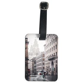 Etiqueta maleta personalizada con una foto en símil polipiel