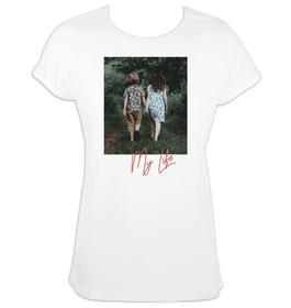 Camiseta mujer mangas enrolladas personalizada con imagen y texto