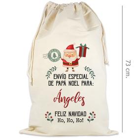 Saco de regalos de Papá Noel personalizado con el nombre