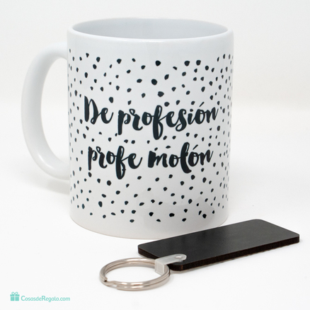 Pack de taza y llavero de profesión profesor molón