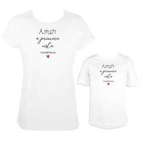 Camisetas madre e hija Amor a primera vista personalizada