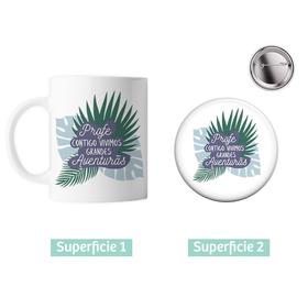 Taza cerámica y chapa Profe Aventuras personalizado