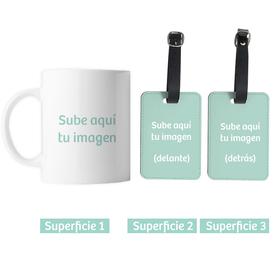 Taza cerámica y etiqueta maleta personalizadas