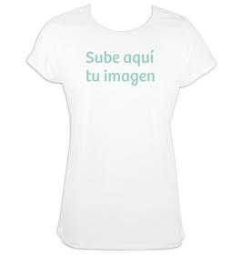 Camiseta mujer mangas enrolladas con imagen personalizada