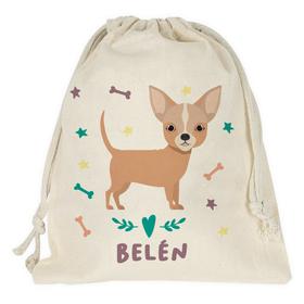 Bolsa merienda personalizada Chihuahua con nombre