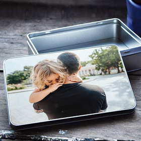 Caja de metal rectangular personalizable