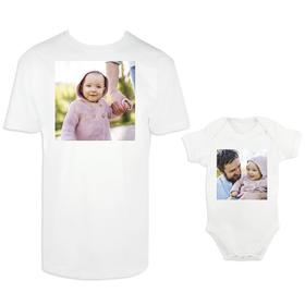 Camiseta y body para padre e hijo con foto personalizada