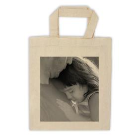 Bolsa algodón pequeña asa corta personalizada con una foto