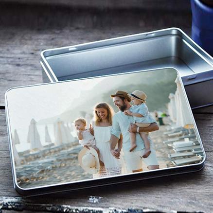 Caja de metal rectangular personalizable