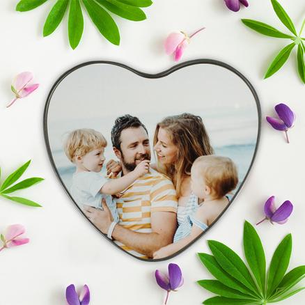 Caja de metal corazón personalizable con tu foto